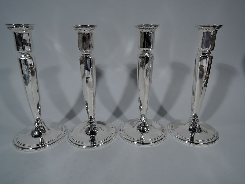 Two Pairs of Tiffany Art Deco Sterling Silver Candlesticks