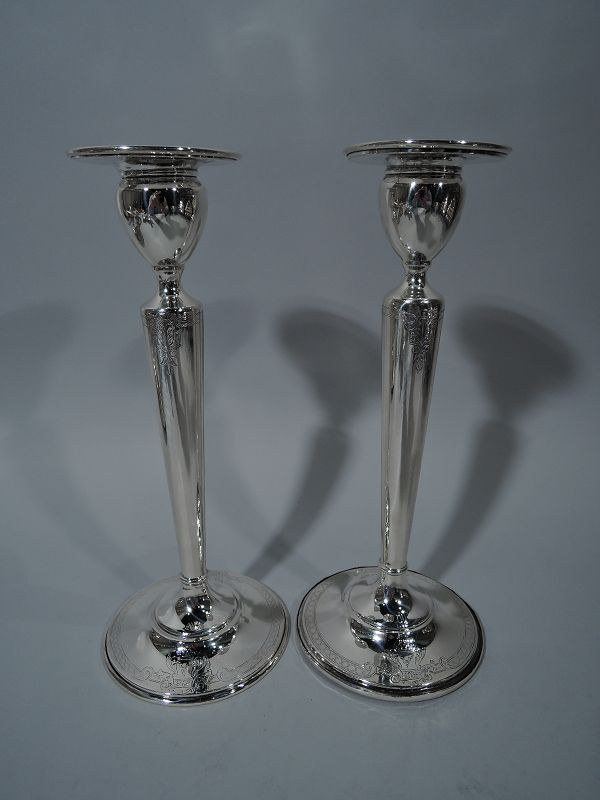 Lovely Pair of American Sterling Silver Candlesticks