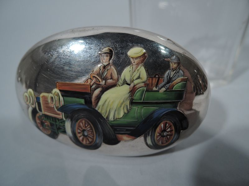 Nostalgic Motoring Days English Sterling Silver & Enamel Vanity Jar