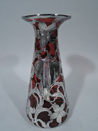 Alvin Art Nouveau Ruby Red Glass Vase With Silver Overlay