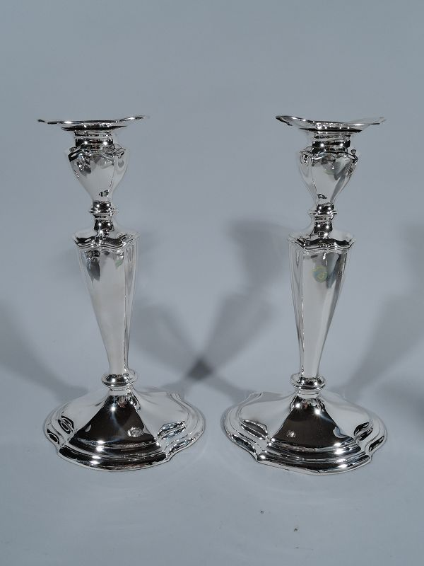 Pair of Reed & Barton Hepplewhite Sterling Silver Candlesticks