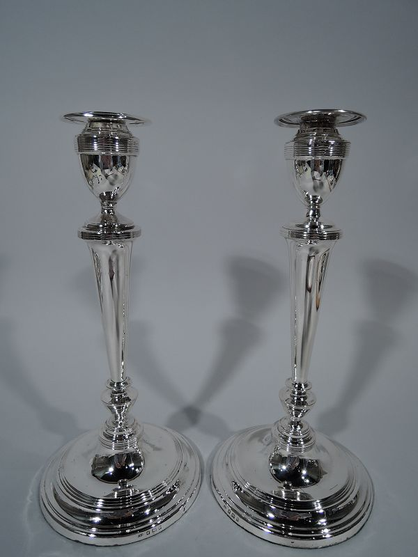 Pair of Antique English Edwardian Sterling Silver Candlesticks