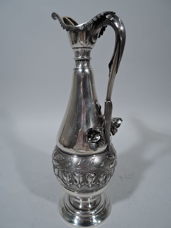 English Aesthetic Sterling Silver Decanter by Frederick Elkington 1886