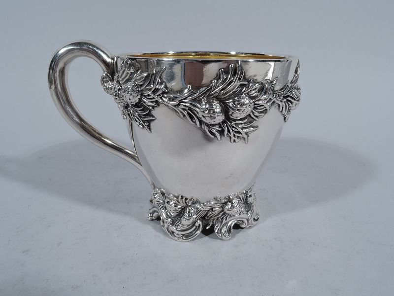 Antique American Sterling Silver Baby Cup with Pinecones and Branches