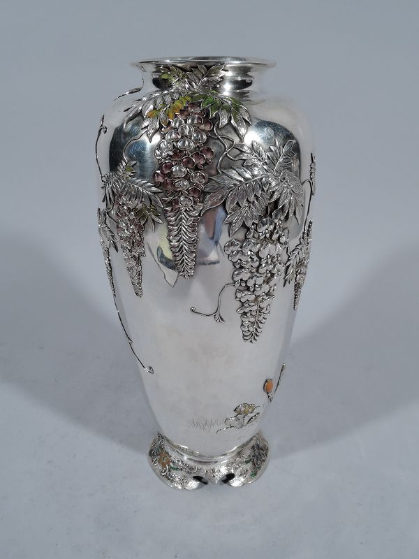 Antique Japanese Meiji Silver and Enamel Wisteria Vase