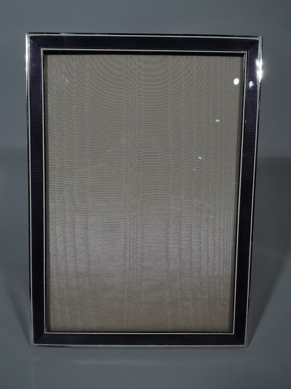 French Art Deco Modern Silver and Purple Enamel Picture Frame
