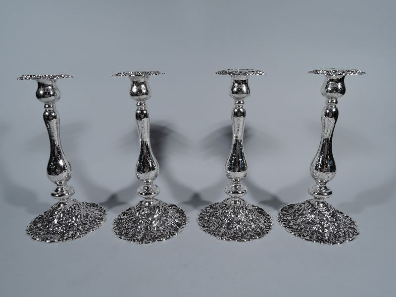 Set of Four JE Caldwell Pierced Rococo Sterling Silver Candlesticks