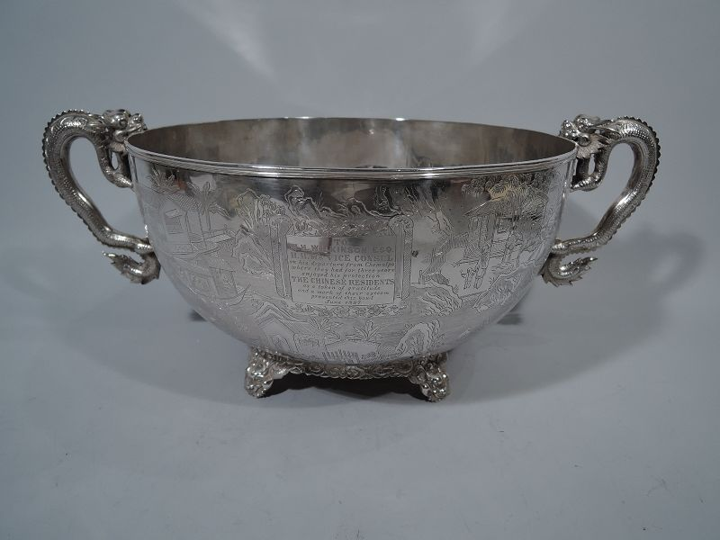 Chinese Silver Dragon Bowl Presented to English Diplomat in 1897