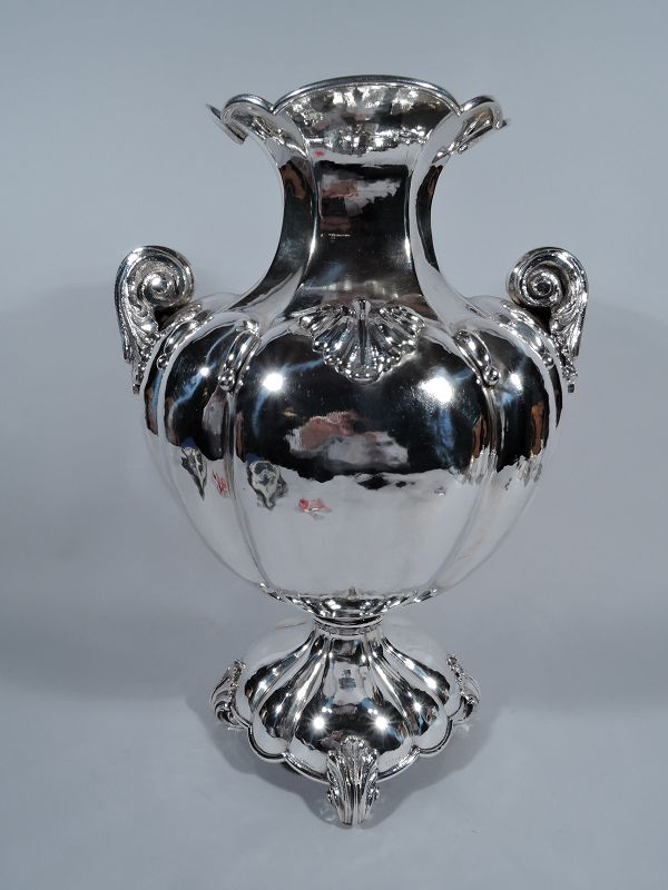 Large Italian Hand-Hammered Silver Classical Amphora Vase