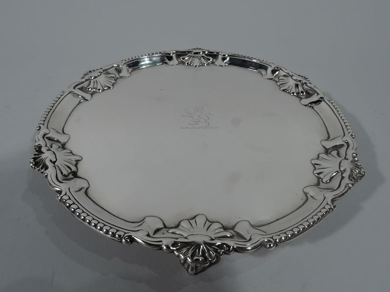 English Georgian Sterling Silver Shell Salver Tray with Armorial 1771