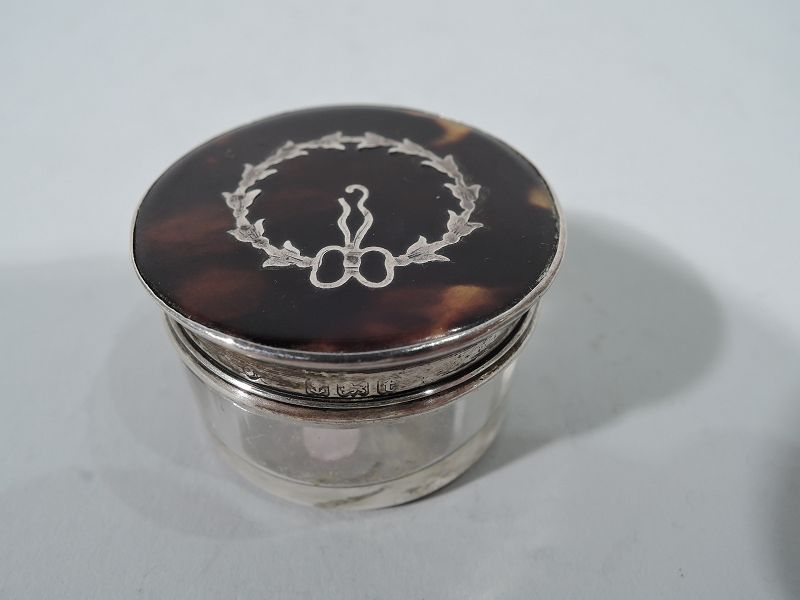 Antique English Regency Sterling Silver Rouge Pot 1918