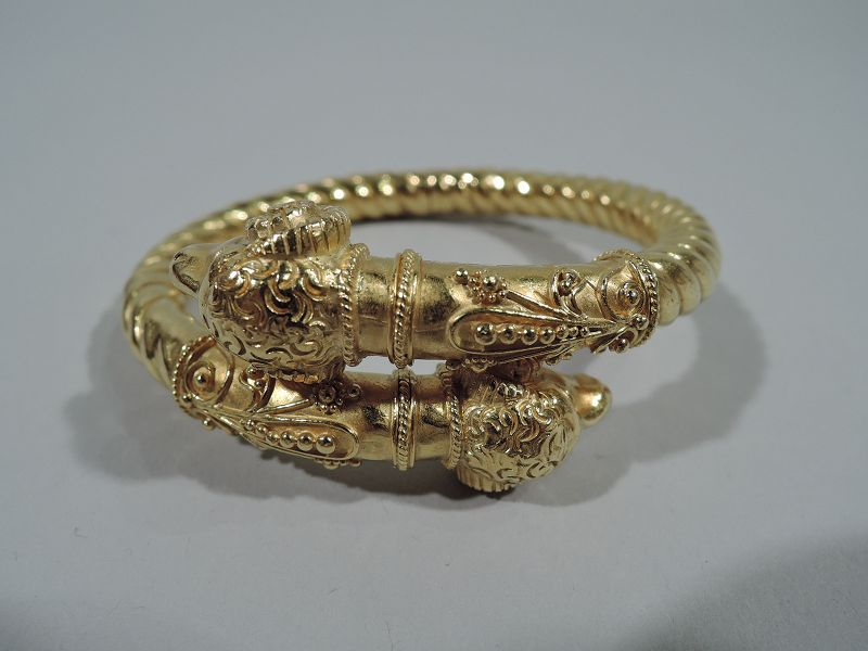 Antique Etruscan Revival Italian 18K Gold Ram's Head Bangle Bracelet