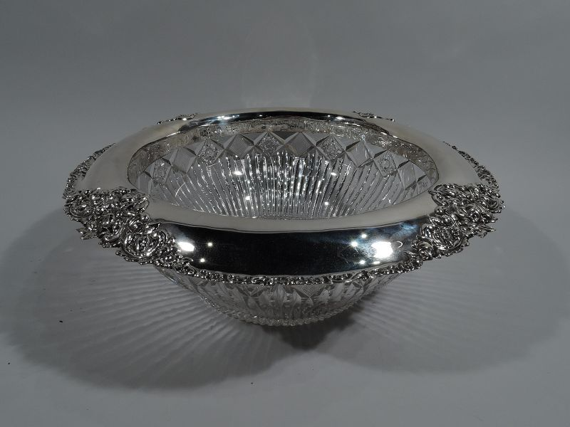 Antique American Brilliant-Cut Glass & Sterling Silver Punch Bowl
