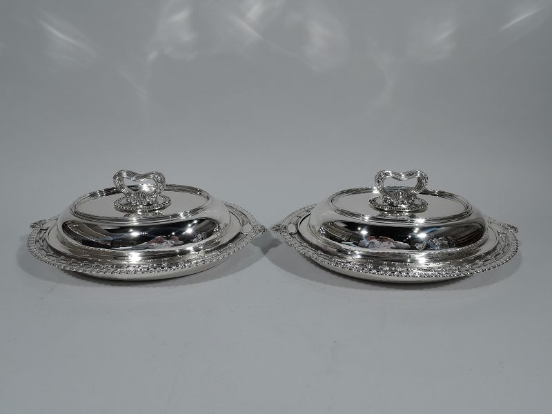 Pair of Classical Sterling Silver Covered Vegetable Dishes by Tiffany