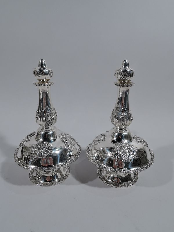 Pair of Tiffany Rococo Revival Sterling Silver Liqueur Decanters