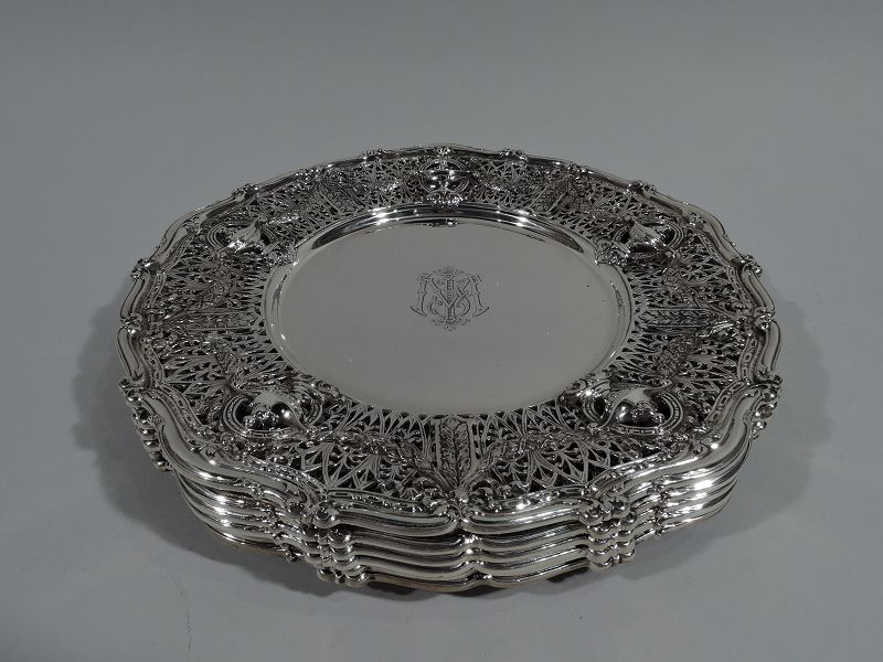 Set of 6 Shreve Adam Sterling Silver Service Dinner Plates