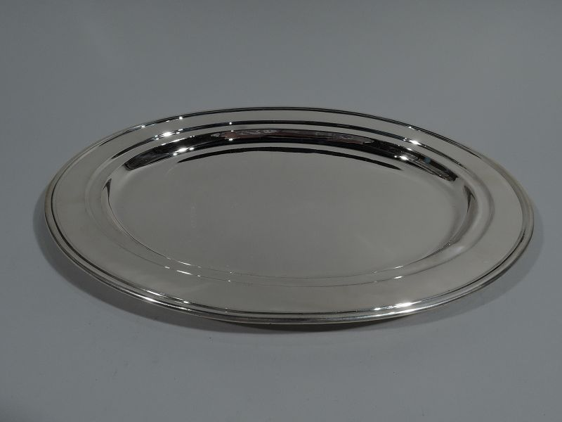 Tiffany Modern Sterling Silver Oval Serving Platter Tray