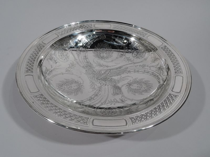 Tiffany Aesthetic Sterling Silver Bowl with Bird and Flowers