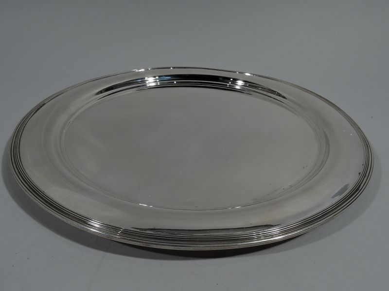 Tiffany Sterling Silver 14-Inch Serving Tray with Reeded Rim