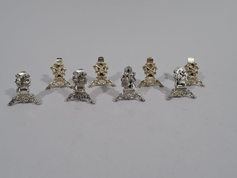 Set of 8 German Court & Country Sterling Silver Place Card Holders