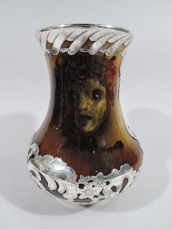 Rookwood Pottery Silver Overlay Vase with Medusa Head