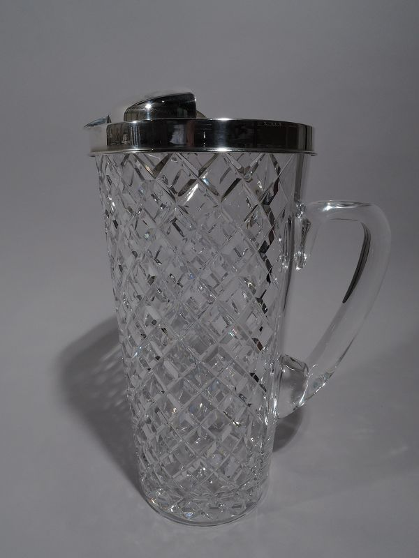Tiffany Midcentury Sterling Silver Bar Pitcher with Hawkes Glass