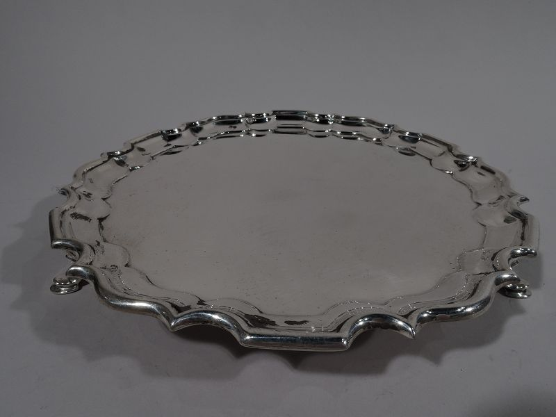 Antique Sterling Silver Salver Tray with Georgian Piecrust Rim