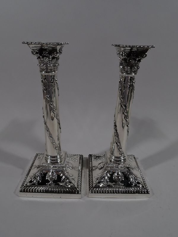 Pair of Antique English Regency Revival Classical Candlesticks