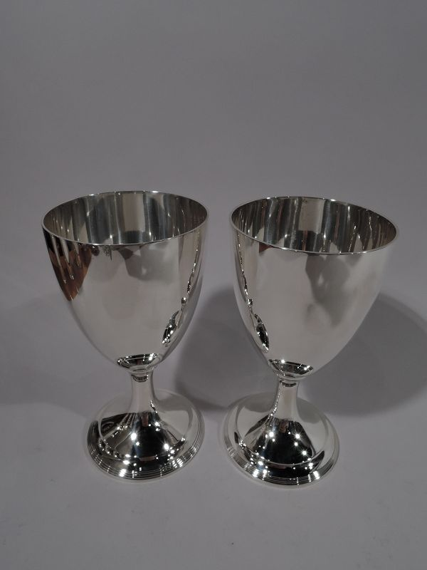Pair of Antique Tiffany Georgian Sterling Silver Goblets