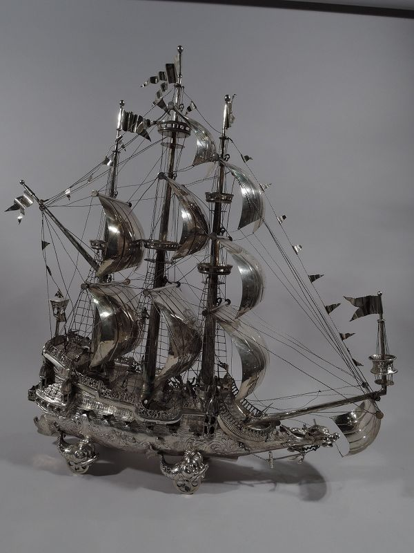 Large Antique German Silver 3-Mast Galleon Nef Wine Trolly