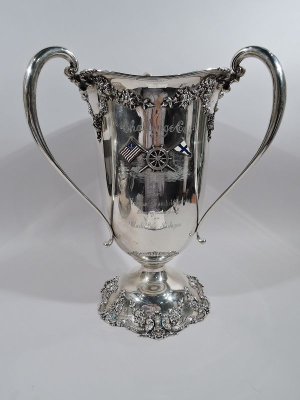 Large Antique Edwardian Sterling Silver Boat Race Trophy Loving Cup