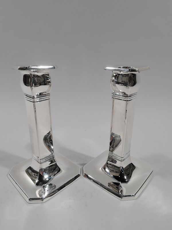 Pair of Tiffany Art Deco Classical Sterling Silver Pillar Candlesticks