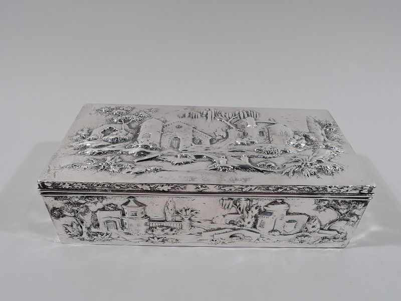 Antique Kirk Sterling Silver Box with Picturesque Architecture