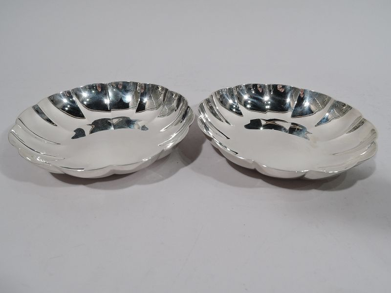 Pair of Tiffany Midcentury Modern Sterling Silver Blossom Bowls